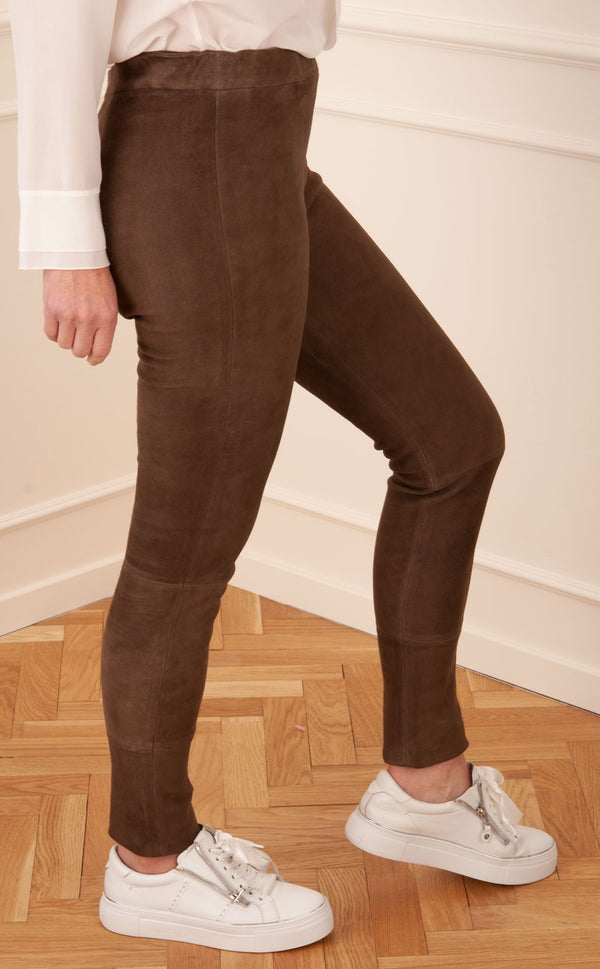 Veloursleder Leggings Braun