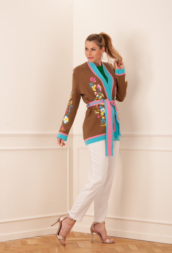 Cardigan brown | Turquoise | Multicolor