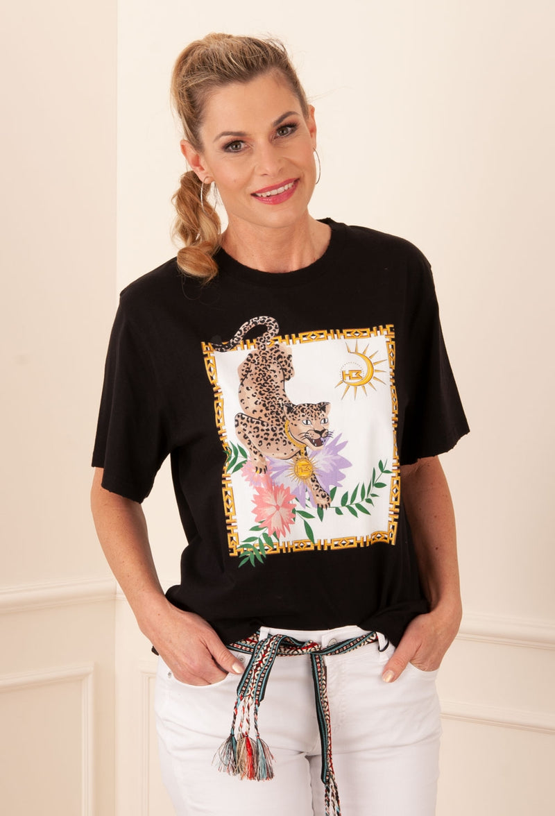 "Hayley Menzies - T Shirt ""Leopard"" Schwarz 