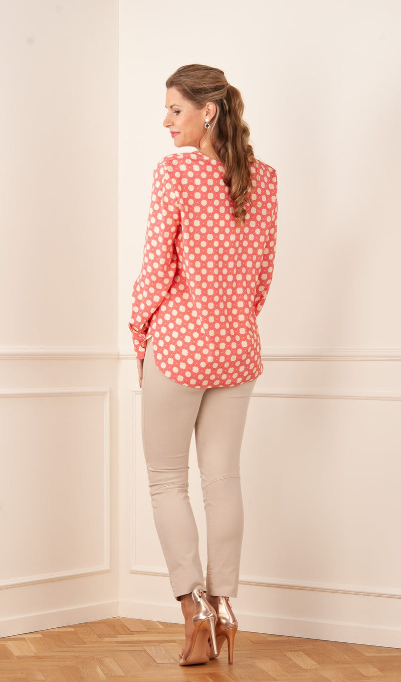 Silk blouse Creme | Pink | Red