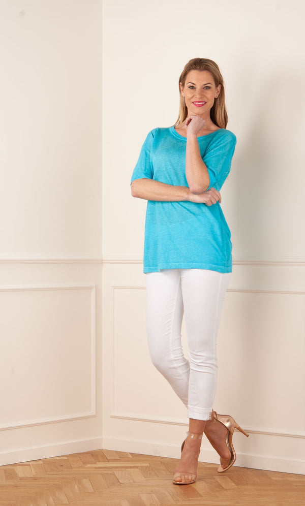 Pull de lin turquoise