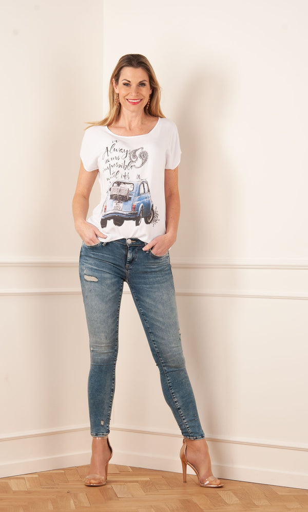 "Jeans ""Halle Destroyed"" Blau"