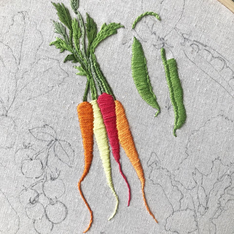 vegetable embroidery pattern carrots and peas