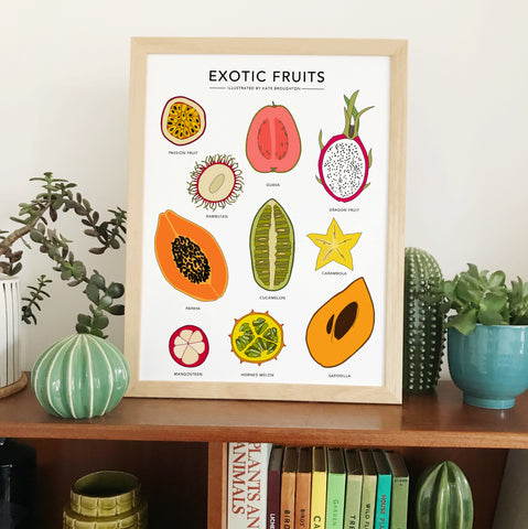 exotic fruits illustrated print poster