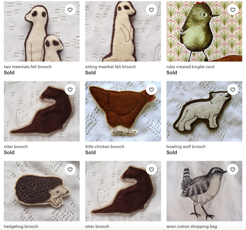 felt brooches by Kate Broughton