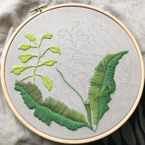 embroidery hoop ferns craft