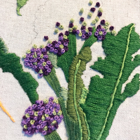 purple sprouting broccoli embroidery with French knots