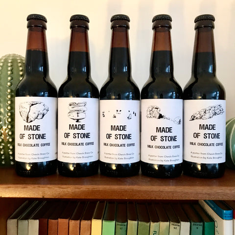 Made of stone beer labels illustrated by Kate Broughton