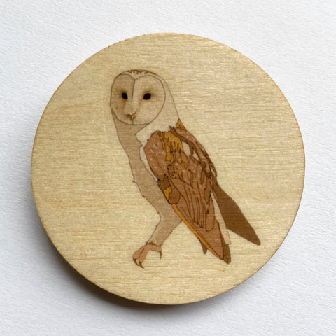 Barn owl wooden brooch