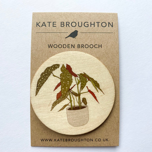 Begonia plant wooden brooch