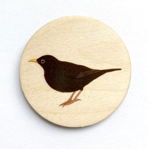 Blackbird wooden brooch