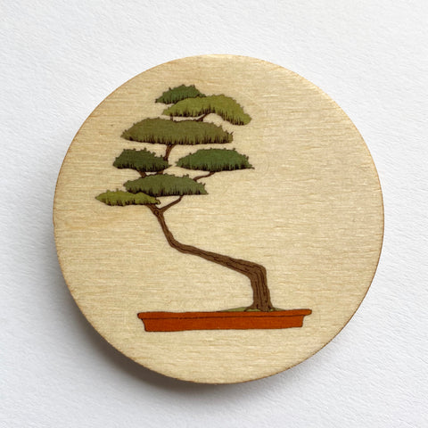 Bonsai tree wooden brooch
