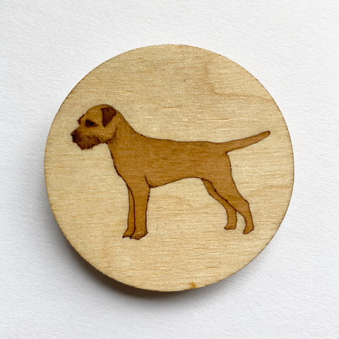 Border Terrier wooden brooch