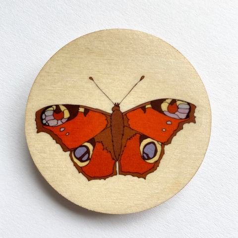 Peacock Butterfly wooden brooch