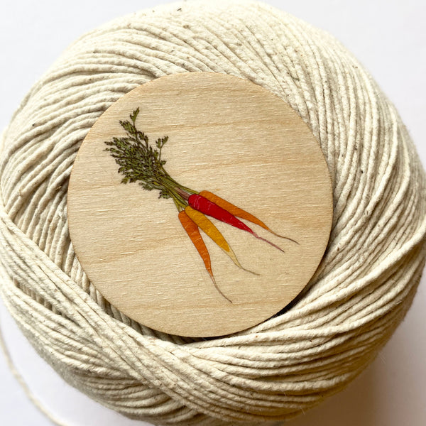 Carrot wooden brooch