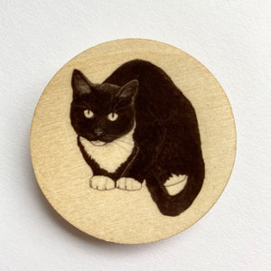 Black and White Cat wooden brooch