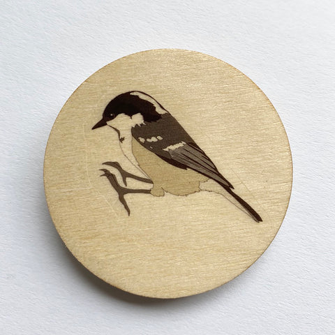 Coal tit wooden brooch