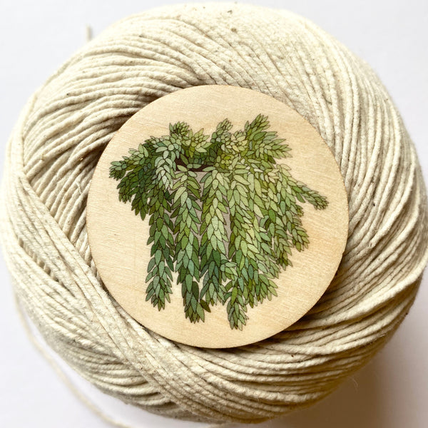 Donkey Tail plant wooden brooch