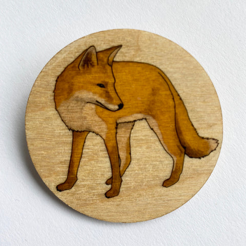 Fox wooden brooch