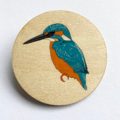 Kingfisher wooden brooch