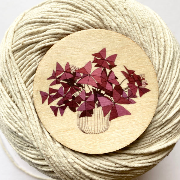Oxalis houseplant wooden brooch