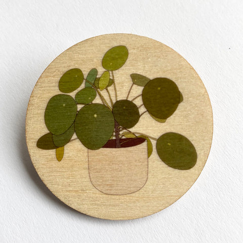 Pilea houseplant wooden brooch