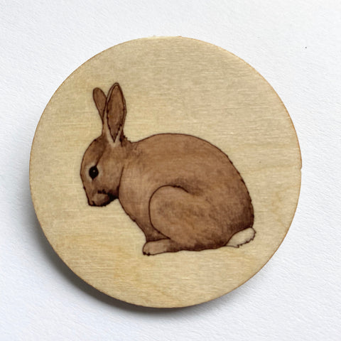 Rabbit wooden brooch