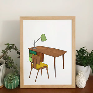 Retro Homes Desk Print