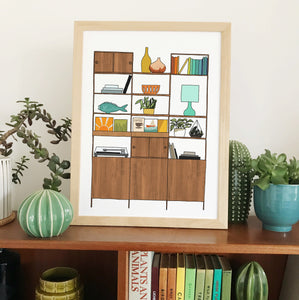 Retro Homes Shelves Print