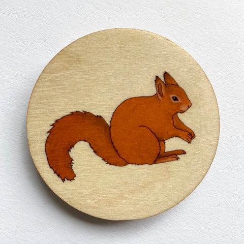 Red Squirrel wooden brooch
