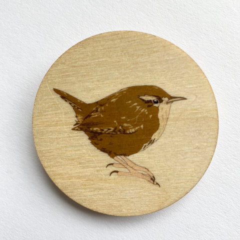 Wren wooden brooch