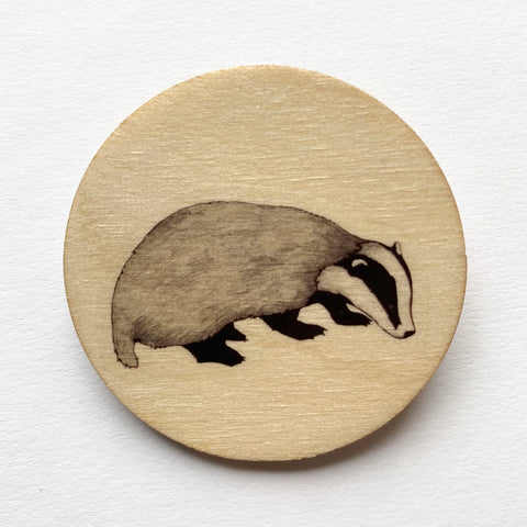 Badger wooden brooch