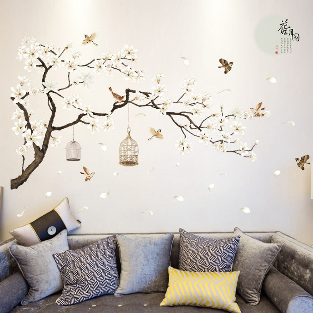 Big Size Tree Birds Flower Wall