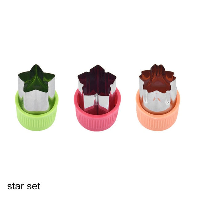 Star Heart Shape Vegetables Cutter Plastic Handle 3Pcs Portable Cook Tools Stainless Steel Fruit Cutting Die Kitchen Gadgets