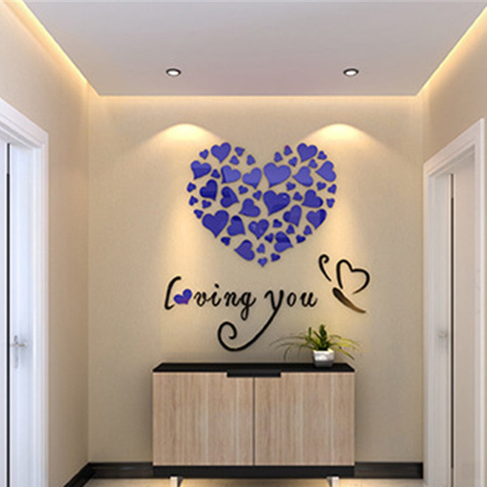 3D Acrylic Love Heart Wall Sticker