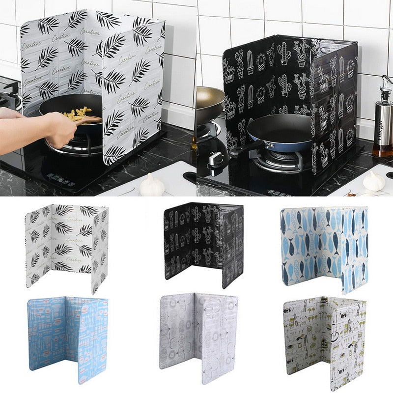 1PC Kitchen Gadgets Oil Splatter Screens Aluminium Foil Plate Gas Stove Splash Proof Baffle Home Kitchen Cooking Tools