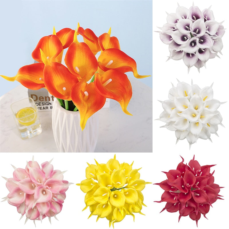 Lot PU Artificial Flowers Calla Lily