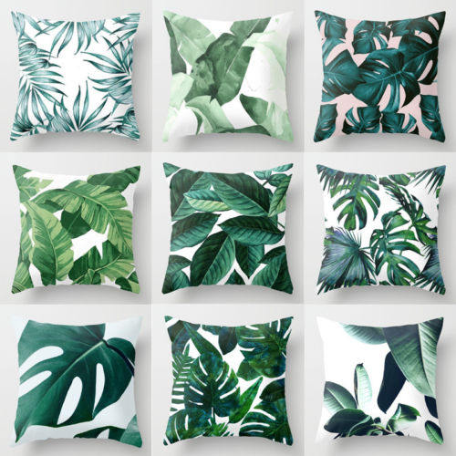 Tropical Leaf Cactus Polyester Cushion