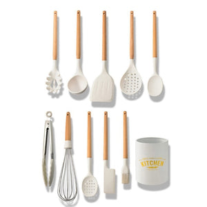 Silicone Cooking Utensils Set Non-Stick Spatula Shovel Wooden Handle Cooking Tools Set With Storage Box Kitchen Tool Accessories