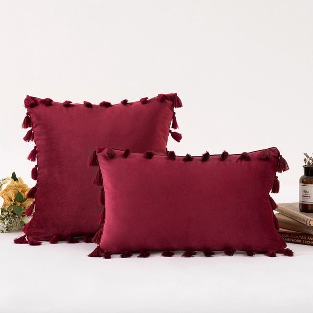 Modern Velvet Cushion Tassel Cover