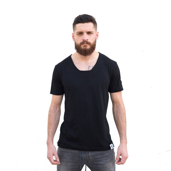 "Maestro's Classic BeardProper ""B Neck"" or ""Beard Neck"" Black Tee"