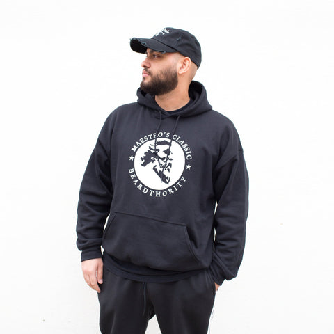 Maestro's Classic BeardThority Hooded Sweatshirt- Black with White Logo