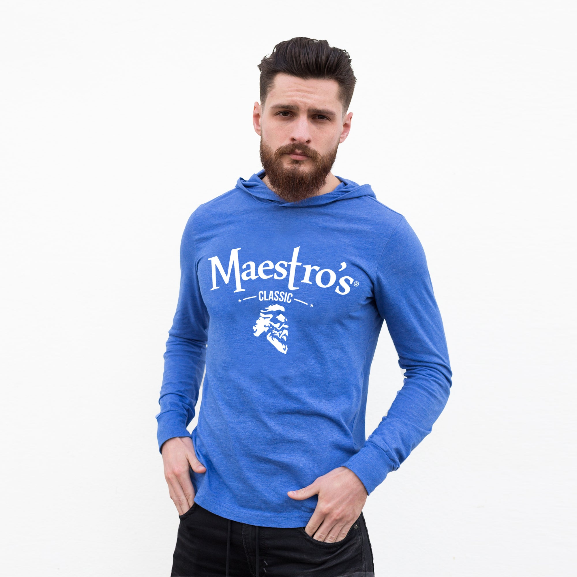 Maestro's Classic Blue Fitness Lite Hoodie - White Logo