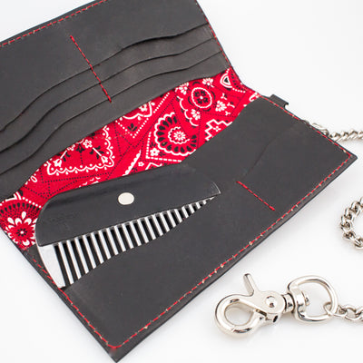 Anthony Spadafora Maestros Classic Leather Chain Wallet Black w/ red detail