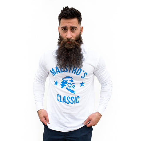 Maestro's Classic White Fitness Lite Hoodie - Blue Logo
