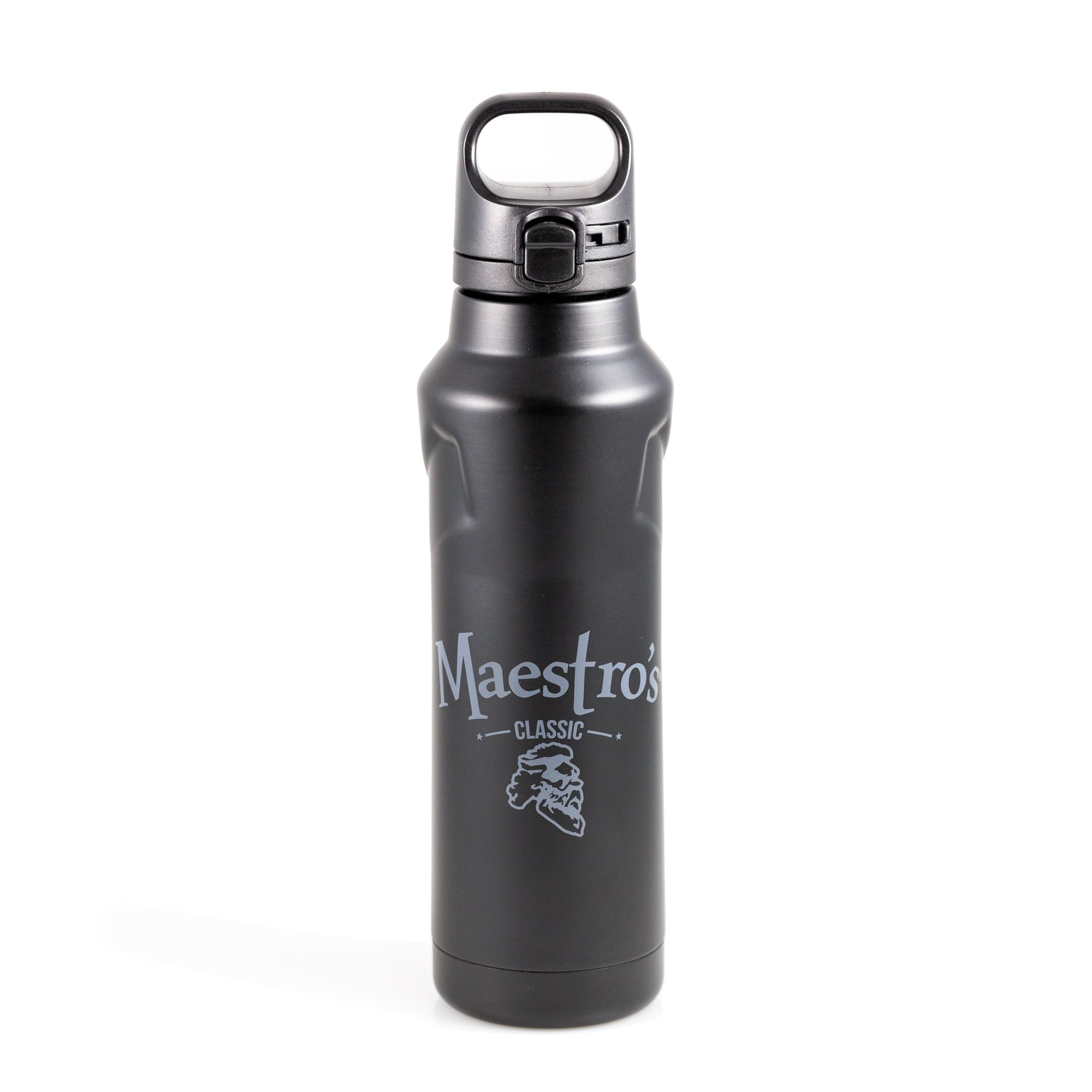 Maestro's Classic Beverage Bottle- Matte Black with Gray Logo