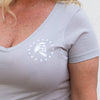 Maestro's Classic Women's V-Neck Tee- Light Gray with White Logo