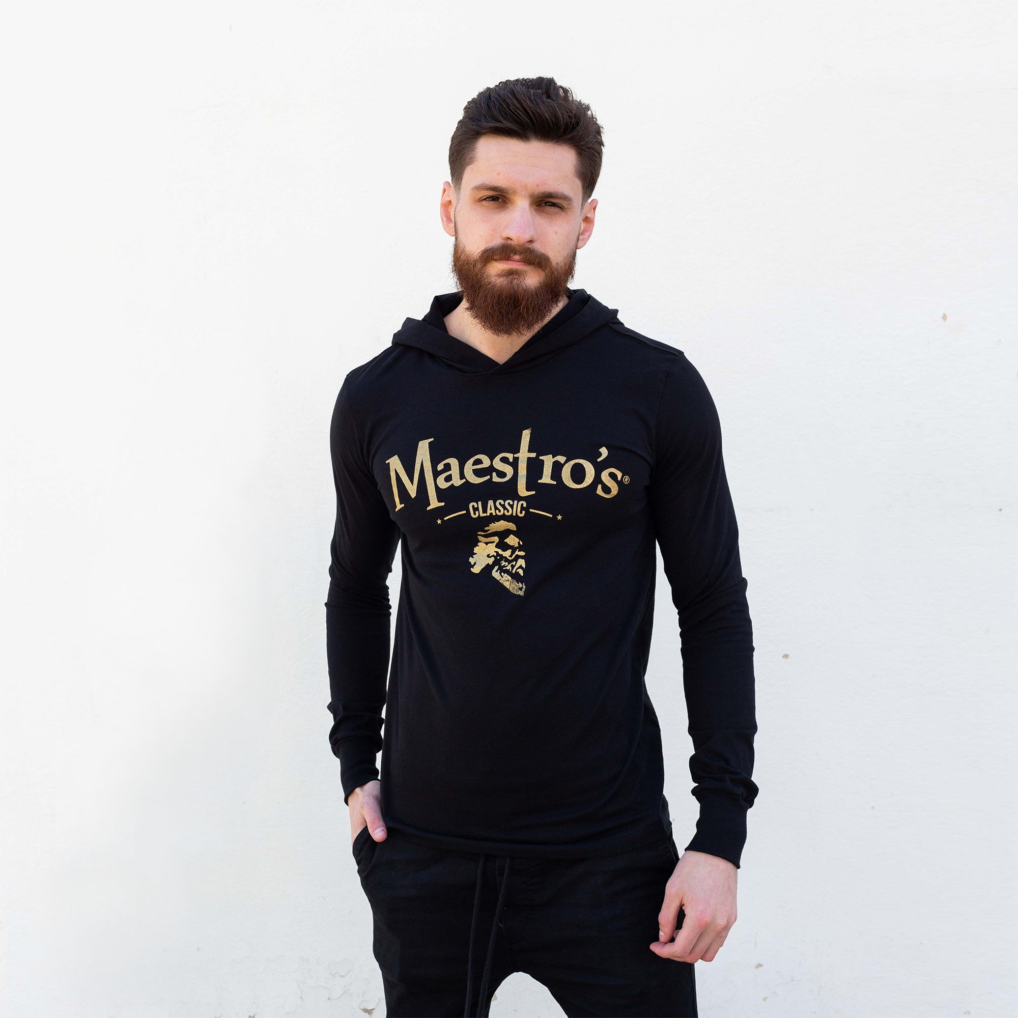 Maestro's Classic Black Fitness Lite Hoodie - Gold Logo