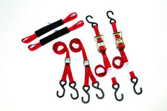 "1"" M/C Tie Down Straps, ""Deluxe Four Pack"" Featuring Extension Loop w/Fleece Sleeves"