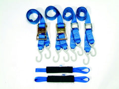 "2"" M/C Tie Down Strap, ""Deluxe Power Pack"" Featuring Extension Loops w/Fleece Sleeves"